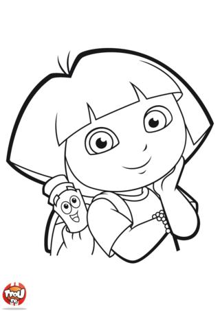 Coloriage: Dora et la carte