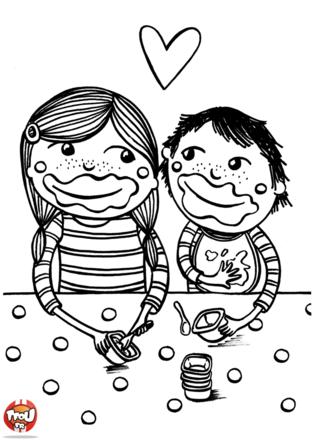 Coloriage: Frère et soeur mangent
