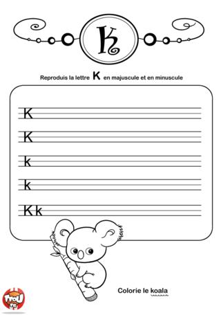 Coloriage: La lettre K en minuscule et majuscule