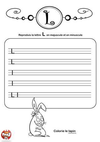 Coloriage: La lettre L en minuscule et majuscule