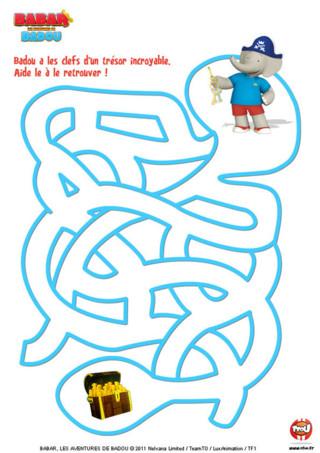 Labyrinthe : Imprime vite ce labyrinthe et aide Badou à retrouver son trésor