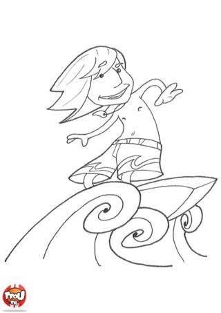 Coloriage: Le surfeur fou