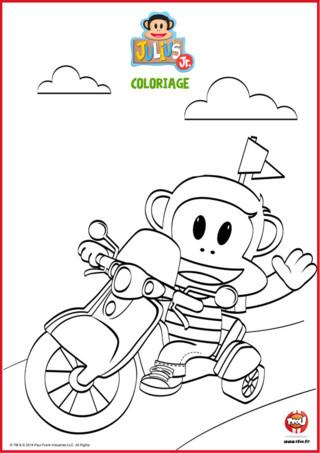 Coloriage : Julius Jr sur sa moto