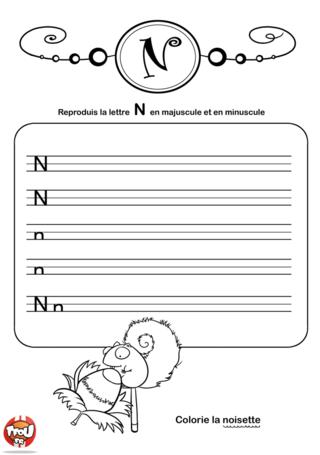 Coloriage: La lettre N en minuscule et majuscule