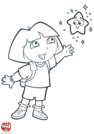 Coloriage : Tu es fan de Dora l'exploratrice ?! Alors ce coloriage est parfait pour toi ! Imprime gratuitement ce coloriage de Dora l'exploratrice sur TFou.fr ! Dora vient juste de trouver une magnifique petite étoile qui brille dans la nuit ! Prends-vite tes crayons de couleur et décore ce coloriage gratuits selon tes envies ! Tu pourras ainsi découvrir l'univers de ton exploratrice préférée gratuitement avec TFou.fr et même décorer ta chambre avec ce beau coloriage ! TFou.fr t'a aussi préparé plein d'autres coloriages gratuits !