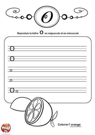 Coloriage: La lettre O en minuscule et majuscule