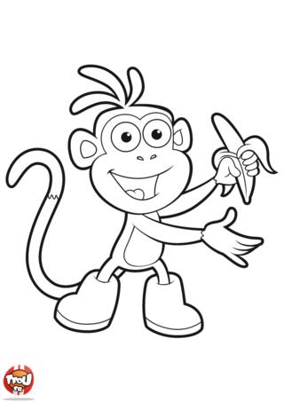 Coloriage: Babouche mange une banane