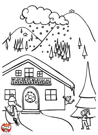 Qu'il est charmant ce châlet aux sports d'hiver ! Peut-être passeras-tu tes vacances de février dans un châlet de ce type ? Imprime le coloriage Châlet sur TFou.fr.