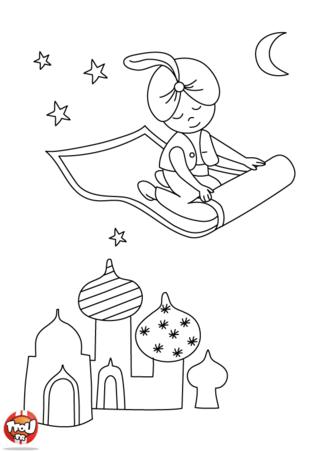 Coloriage: Le prince sur son tapis volant