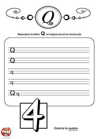 Coloriage: La lettre Q en minuscule et majuscule
