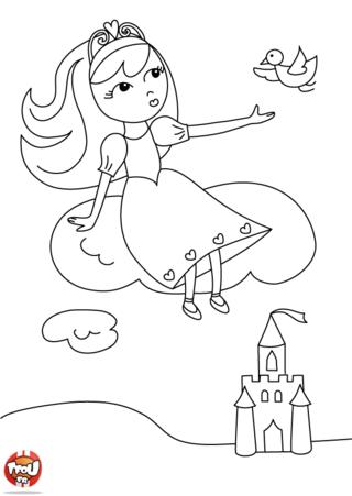 Imprime gratuitement ce coloriage de princesse