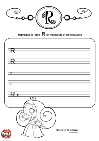 Coloriage: La lettre R en minuscule et majuscule