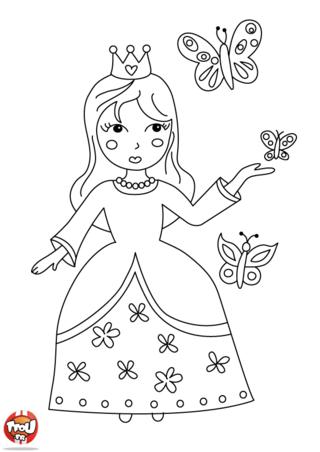 Coloriage: Princesse papillons