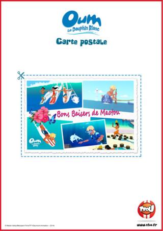 Oum et Yann sont des amis inséparables! Imprime gratuitement cette belle carte postale, gagne des Tfizz ainsi qu'un badge Oum le Dauphin Blanc!