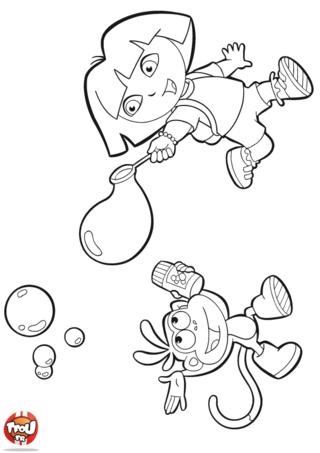 Coloriage: Dora et Babouche font des bulles