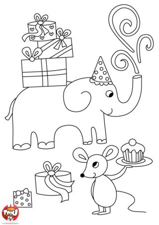 Coloriage: L'anniversaire des animaux