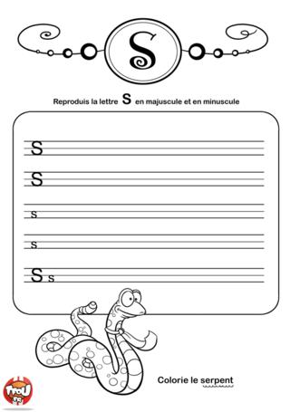 Coloriage: La lettre S en minuscule et majuscule