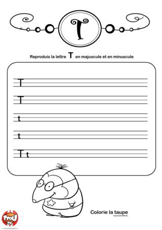 Coloriage: La lettre T en minuscule et majuscule