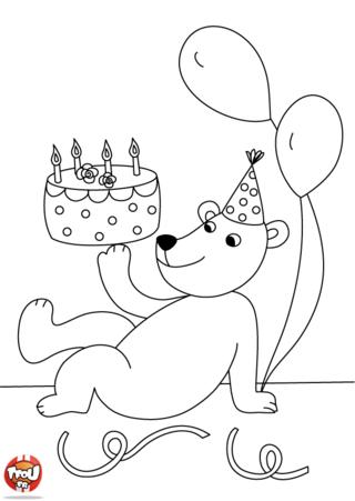 Coloriage: L'ours et son gâteau