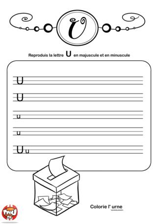 Coloriage: La lettre U en minuscule et majuscule