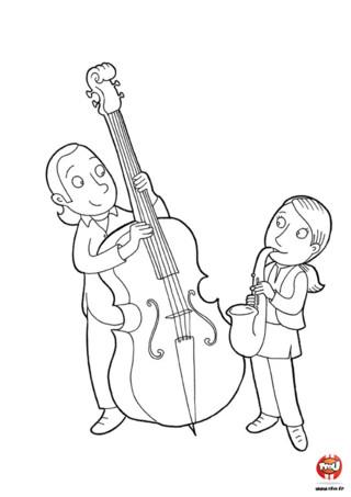 Coloriage : Préparation fête de la musique. Les enfants répètent leurs morceaux préférés pour la fête de la musique. Ils ont hâte de jouer de leurs instruments favoris pour fêter l'arrivée de l'été. Imprime vite ce joli coloriage.
