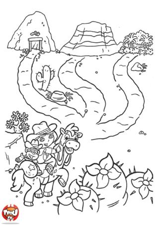 Coloriage: Dora au far west