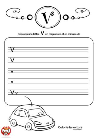 Coloriage: La lettre V en minuscule et majuscule