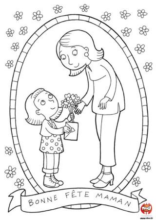 Coloriage : Bonne fête maman ! C'est un jour important pour les mamans, c'est également l'occasion d'offrir un joli cadeau pour ta maman. TFou a pensé à toi avec ces nombreux coloriages à imprimer à l'occasion de la fête des mères. Car un coloriage est un cadeau qui vient du coeur qui fera très certainement plaisir à ta maman. Prends tes feutres et apporte de belles couleurs aux petites marguerites qui entourent ce coloriage à imprimer gratuitement. Retrouve tous les coloriages fêtes des mères à imprimer gratuitement sur TFou.fr