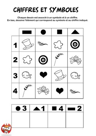 Coloriage: Chiffres et symboles 1