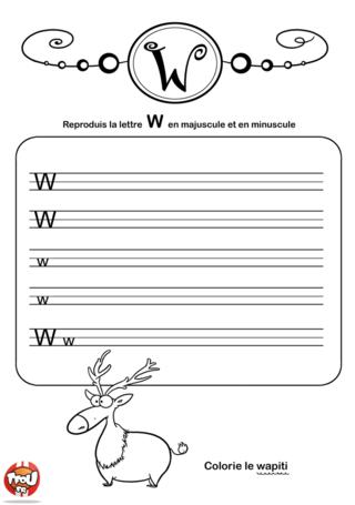 Coloriage: La lettre W en minuscule et majuscule