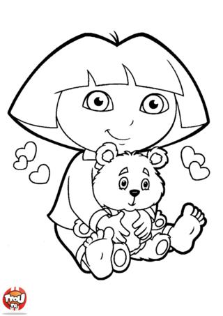 Coloriage: Dora et son nounours