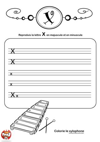 Coloriage: La lettre X en minuscule et majuscule