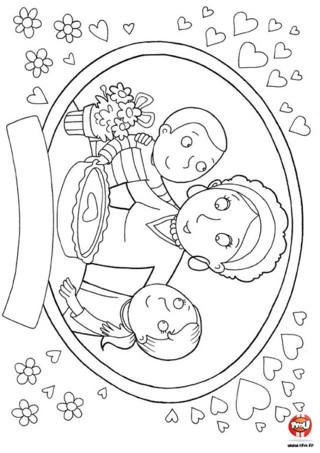 Coloriage : Le bon gâteau pour la fête des mères. Que vas-tu offrir à ta maman pour la fête des mères ? Tu peux commencer par imprimer ce joli coloriage et le colorier avec les couleurs préférés de ta maman.