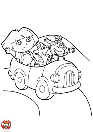 Coloriage: Dora en voiture