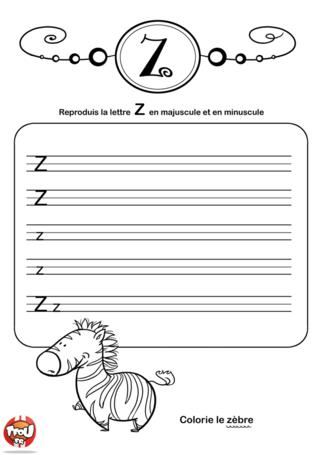 Coloriage: La lettre Z en minuscule et majuscule