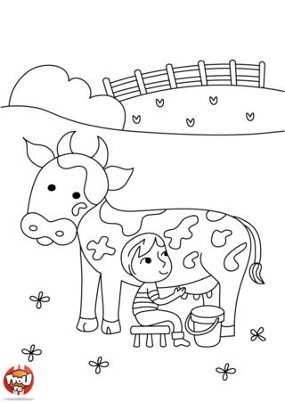 Coloriage: Traire la vache