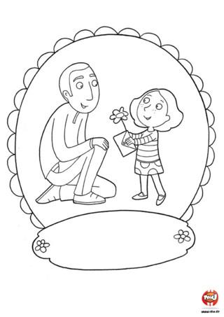 Coloriage : Bonne fête papa ! Imprime ce joli coloriage et colorie-le pour pouvoir l'offrir à ton papa pour la fête des pères.