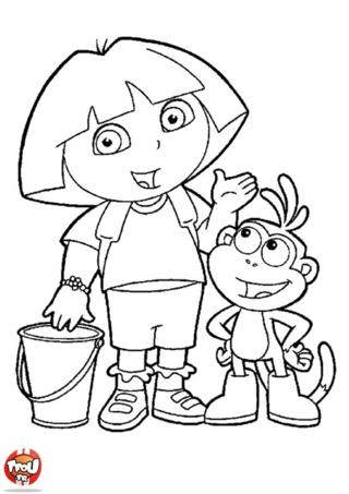 Coloriage: Dora et Babouche avec un seau