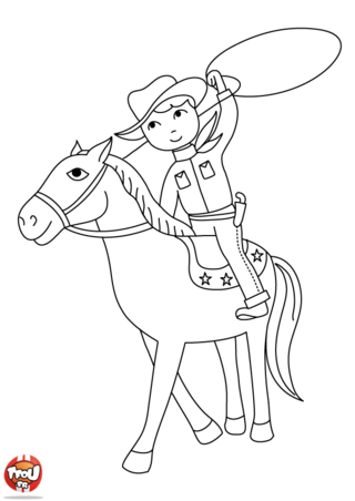 Coloriage: Cheval de Cow-Boy