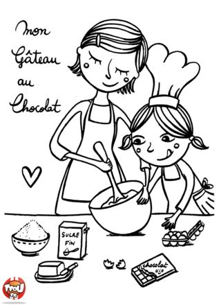 Coloriage: Gâteau au chocolat