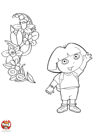 Coloriage: Dora et les fleurs
