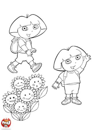 Coloriage: Dora et les tournesols