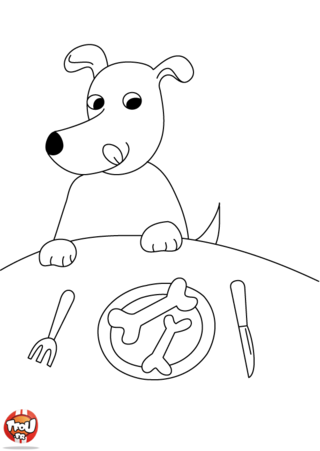 Coloriage: Chien passe à table