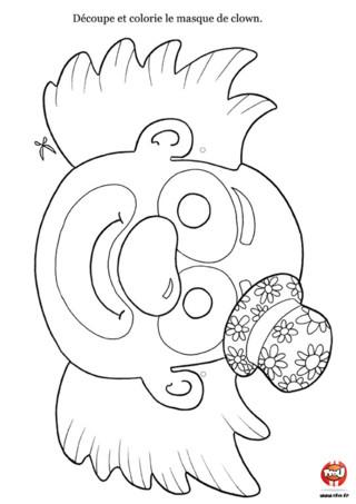 Activité : Masque de clown. Tu adores faire le clown ? Ce masque est fait pour toi ! Imprime-le vite, colorie-le et colle-le sur un support rigide. C'est à toi de jouer !
