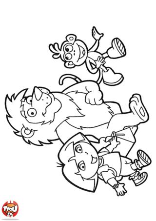 Coloriage: Dora et Babouche avec le lion