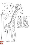 Girafe étend son linge