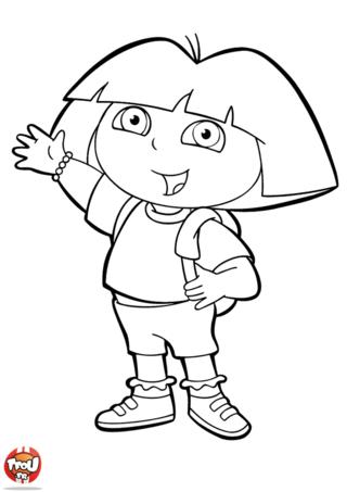 Coloriage: Dora montre