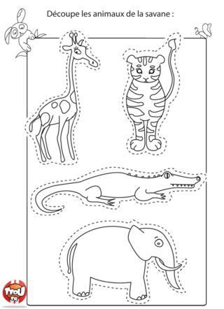 Coloriage: Les animaux de la jungle