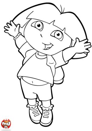 Coloriage: Dora saute