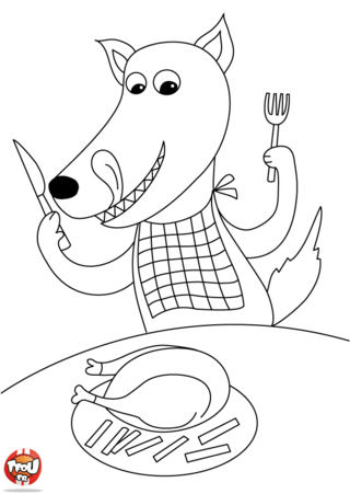 Coloriage: Loup passe à table